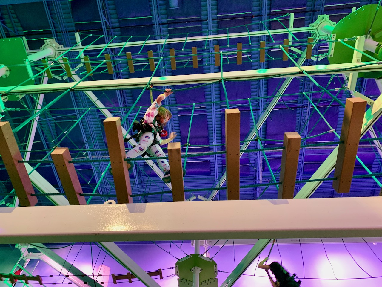 Lorelei running across the ropes course